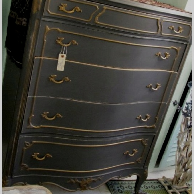 Chest Circa 1930 39 S Handpainted Charcoal Gray With Taupe