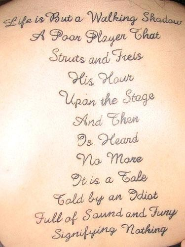 William Shakespeare quotes tattoos  I have this memorized from 11th grade