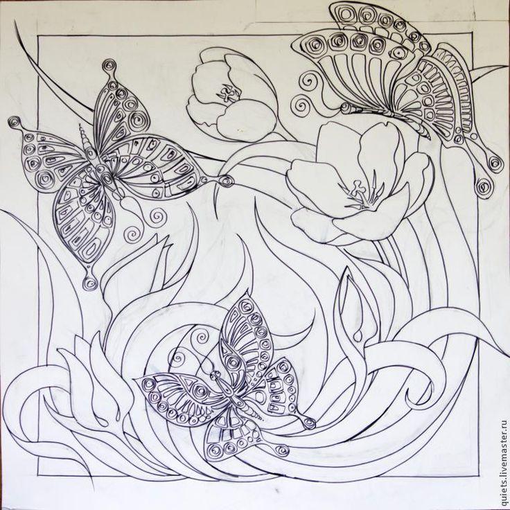 """Расписываем платок на тему """"Бабочки и тюльпаны"""" - Ярмарка Мастеров - ручная работа, handmade"""