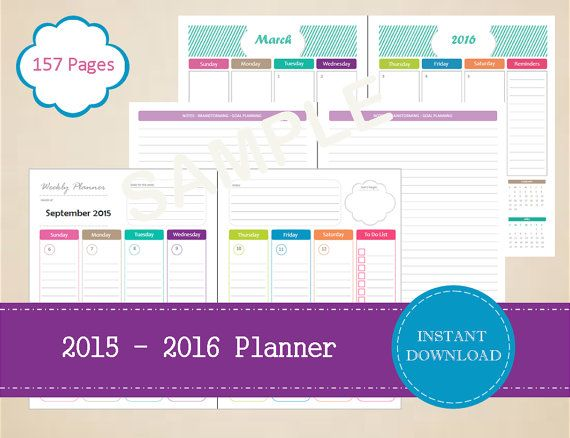 2015-2016 Printable Academic Planner  Half by MBucherConsulting