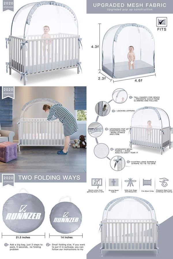 Runnzer Baby Crib Safety Pop Up Tent Crib Net To Keep Baby In Crib Canopy Cover To Keep Baby From Climbing Out Omomashop In 2020 Crib Canopy Canopy Cover Crib Tent