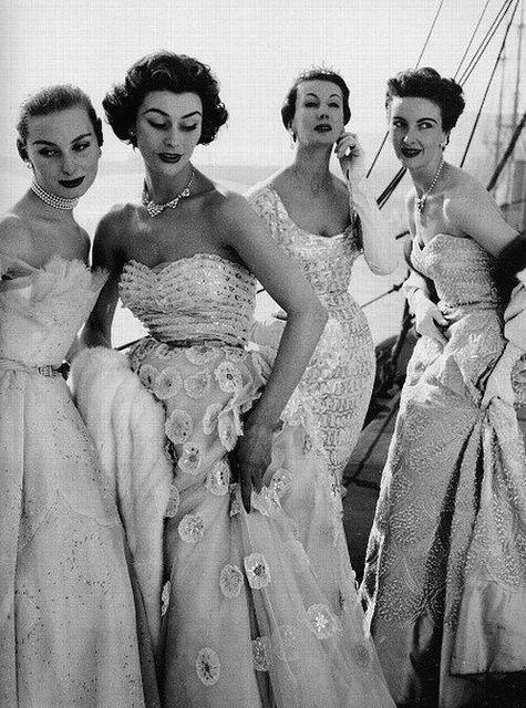 on a ship: models wearing Norman Hartnell, 1953 - via dovima_is_devine_II, via Flickr
