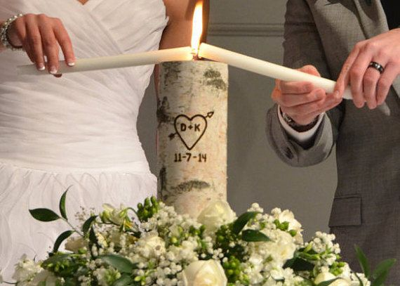 This elegant, yet simple rustic unity candle holder set is the perfect choice for your unity ceremony. Personalized with your initials and wedding