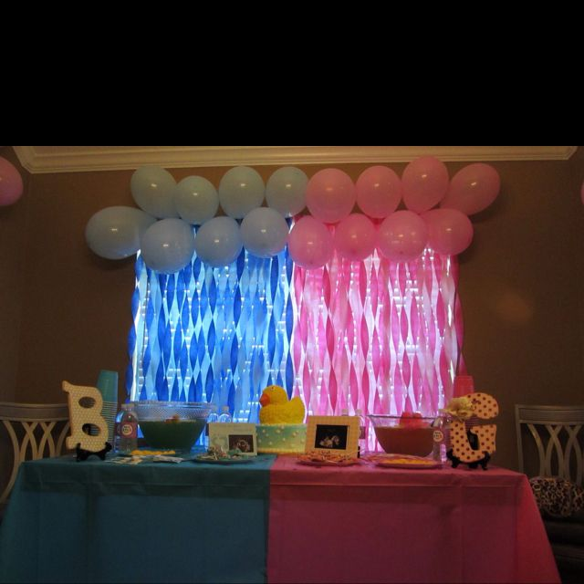 17 best images about gender reveal party ideas on for Baby party decoration
