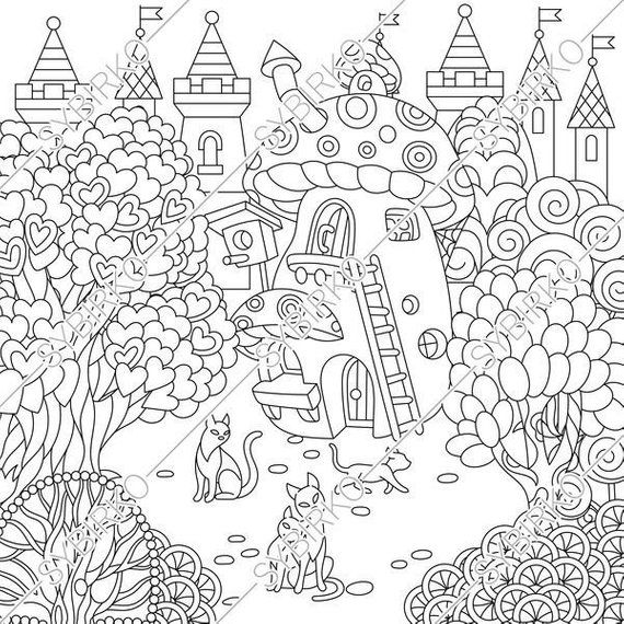 Coloring Pages For Adults Fairy Tale Town Fairytale Castle Rhpinterest: Castle Cats Coloring Pages At Baymontmadison.com