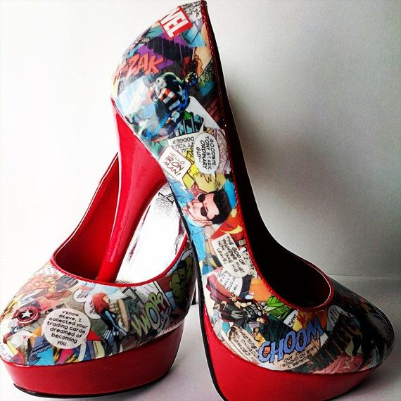 Hey, I found this really awesome Etsy listing at https://www.etsy.com/listing/233971086/comic-book-heels-comic-book-shoes-going