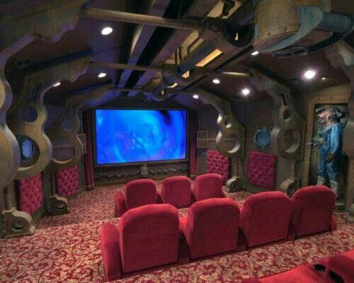 inspired by jules vernes classic novel the nautilus home theater is truly a work of art it was designed by dillon works inc for dallas based dentist