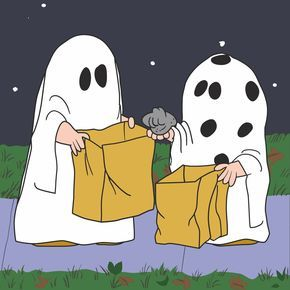 Peanuts dresses as ghosts