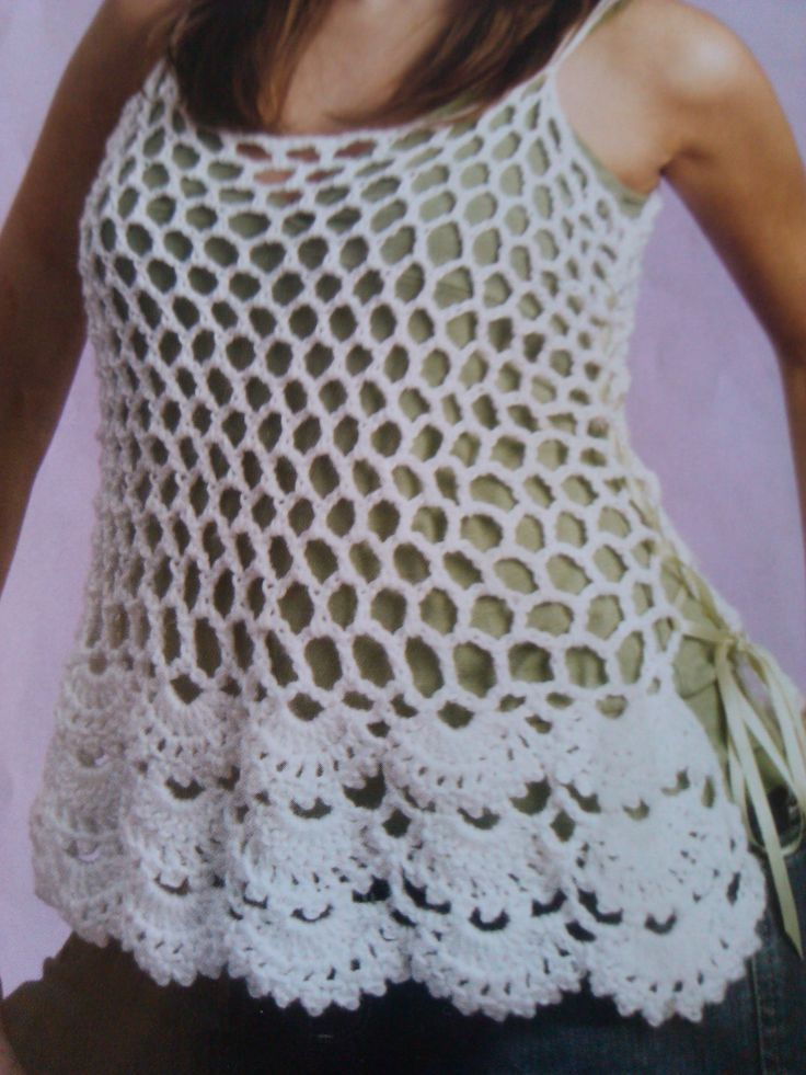 In this tutorial you will learn how to make this mesh top with floral lower edging. The instructions take you step by step to allow you to crochet this great...
