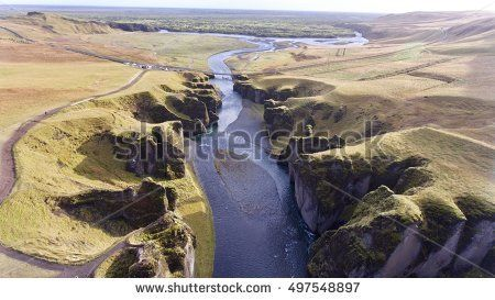 Aerial View Iceland Fjaorargljufur Canyon River Vally South Iceland