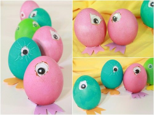 rainbowsandunicornscrafts:    DIY Googly Eye Easter Eggs. The strangest Easter Eggs I've ever seen. But I like them. Tutorial from I Could Make That here.Crafts Ideas, Crafts Spr, Diy Easter, Easter Crafts, Candies, Kids Crafts, Great Ideas, Easter Eggs Diy Ideas4, Easter Ideas