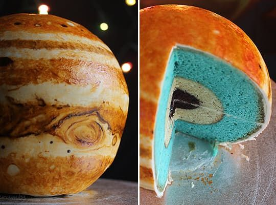 Want to make the astronomy-loving person in your life very happy? Bake this spherical cake modeled after Jupiter, complete with layered insides representing the planet's rock and ice core, layer of liquid metallic hydrogen and outer layer composed of molecular hydrogen. So cool!