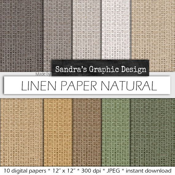 """Linen digital paper: """"LINEN"""" with linen pattern backgrounds in various colors (409)"""