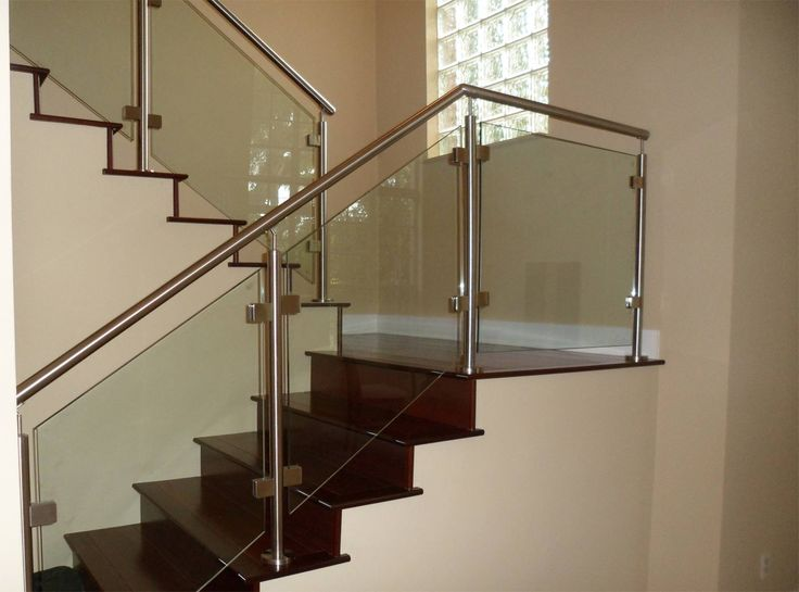 Stair, : Modern Image Of Home Interior Decoration With Half Turn Solid  Cherry Wood Staircase Including Glass Stainless Steel Staircase Railing And  Steel ... Part 5