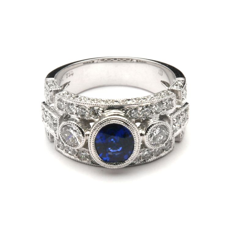 rings | Wide Intricate Bezel Sapphire and Diamond Ring ~ Our Ring Selection ... More