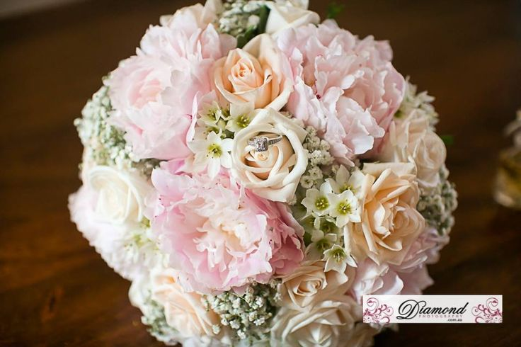 bouquet of peony, roses, babies breath and chins. Created by Lovely Bridal Blooms. Photography Diamond Photography and Video