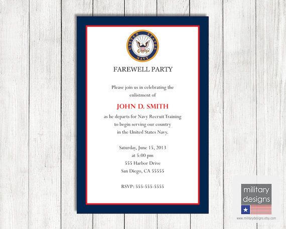 Navy Farewell Invitation Printable US Navy by MilitaryDesigns