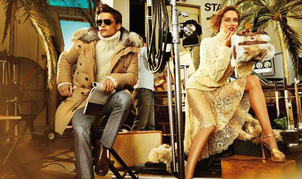 Michael Kors Fall 2012 ad campaign featuring models Karmen Pedaru and Simon Nessman photographed by Mario Testino at Paramount Studios in Los Angeles.