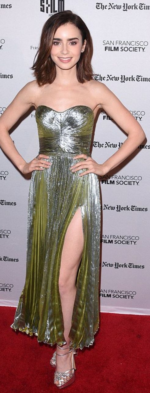 Who made Lily Collin's silver pleated dress?