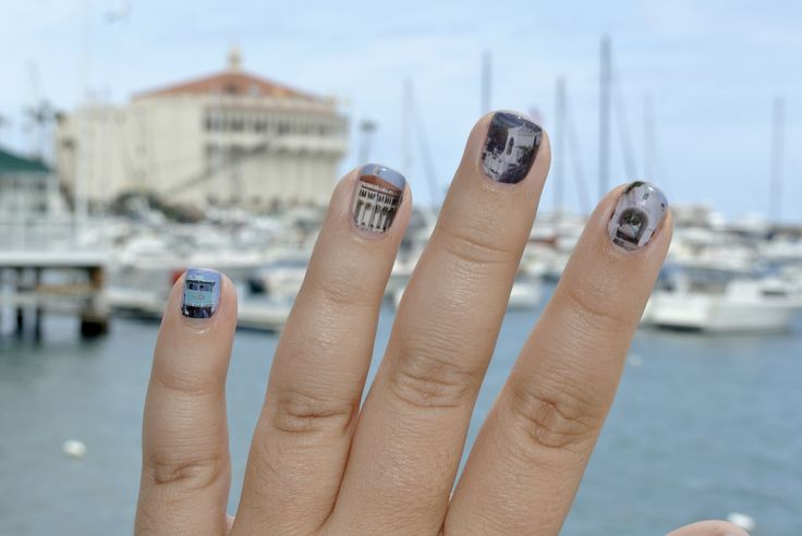 #Catalina Island Nail Wraps! These are custom designed in the #Jamberry #NailArtStudio and available to order through me. Comment or message below to learn how to create your own custom design or to place an order for these beauties! #nailwraps #nailart #catalinaisland #catalinacasino #avalon #avaloncasino #avalonharbor #hollyhillhouse #islander #historicalbuildings
