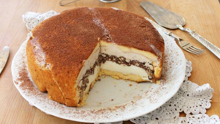 TORTA AL GELATO ricetta con croccante di biscotti e nutella