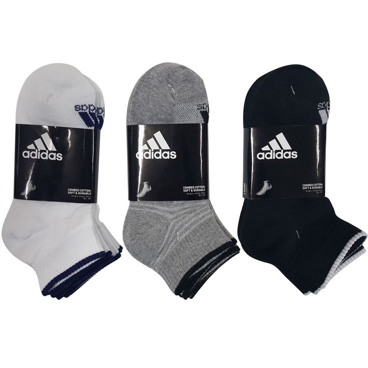 ADIDAS GOLF Men's Sports Half Pile Cushion Socks 3Pairs White Gray Black Korea #adidas #SportsSocks