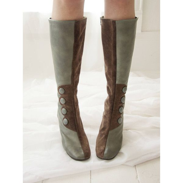 Vintage gray Battani boots, 1960s leather suede mod go-go boots, tall... ($424) ❤ liked on Polyvore featuring shoes, boots, tall boots, leather boots, grey leather boots, gray boots and grey knee high boots