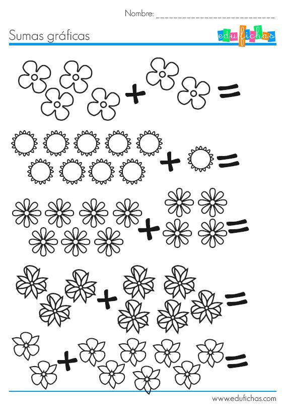 Fichas de matematicas para aprender a sumar. http://www.edufichas.com/actividades/matematicas/sumas/sumas-con-dibujos-de-flores/ http://www.edufichas.com #niños #sumar #aprender #fichas