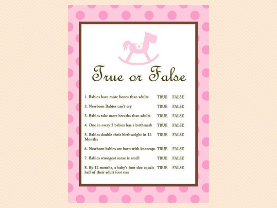 True Or False Baby Shower Games Baby Trivia Baby Facts