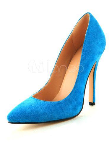 Grazia vestito pompe montone blu in pelle scamosciata Tacco a spillo femminile