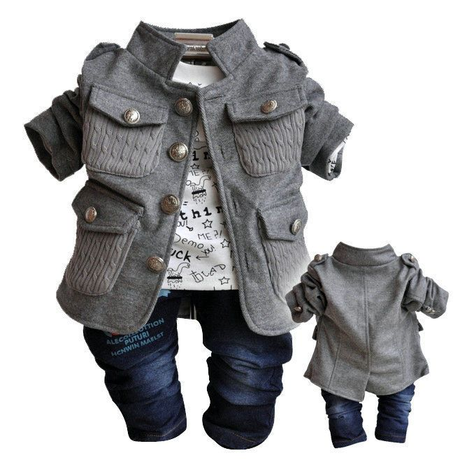 NWT Fall baby boys clothes 3PCS suit+Tshirt+Pants boys outfit kid clothing set