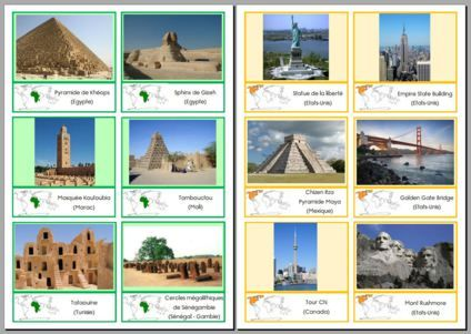 Cartes de nomenclature des animaux et monuments des différents continents
