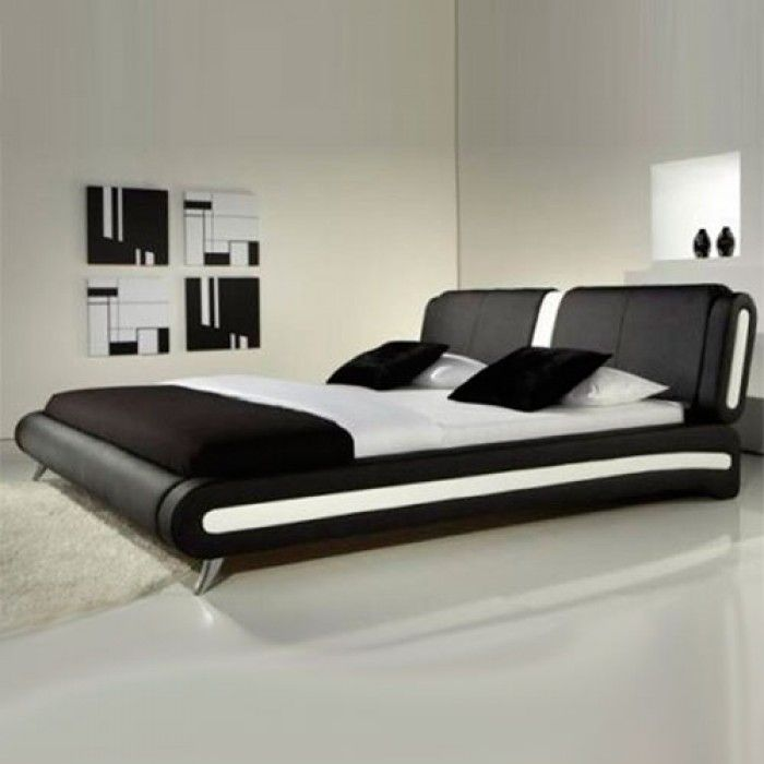 Naples Modern Black And White Leather Bed - Luxury Leather Beds - Beds.co.uk - The Bed Outlet