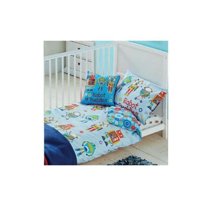 Reversible Boys Robot Buds Cogs Baby Blue Junior Cot Bed Duvet Cover Set Bn
