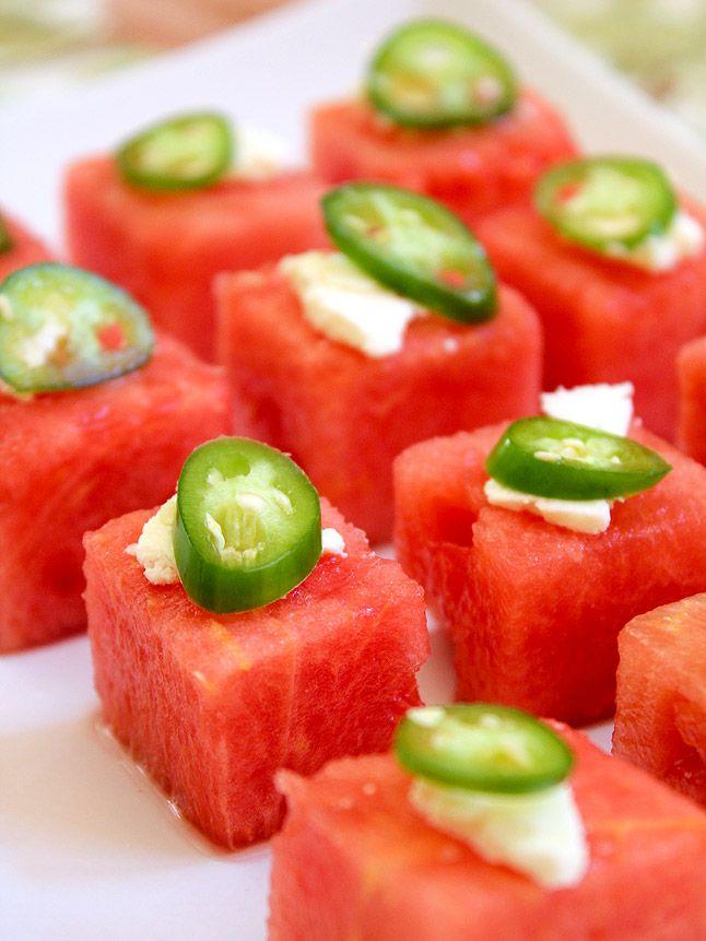 Watermelon Salad Bites with Feta and Sliced Serrano Chile...