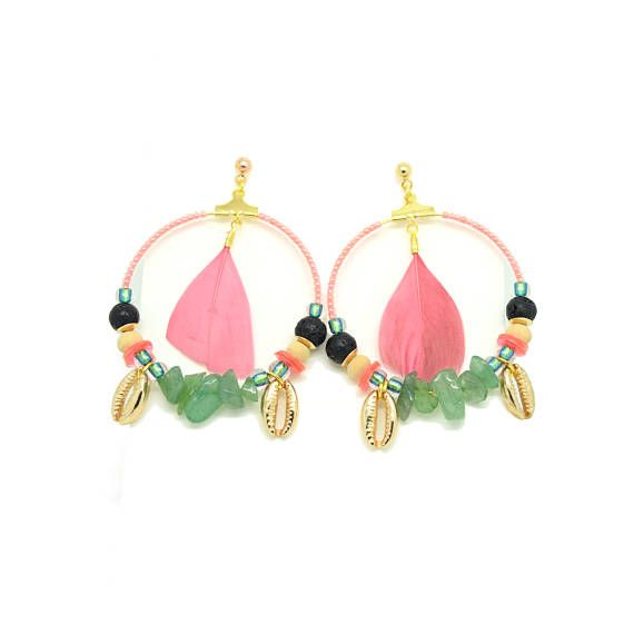 Tribal earrings - ethnic chic - turquoise - pink fluo - - Pen - shell beads