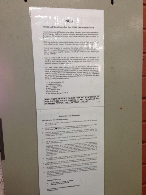 Lockers use instructions