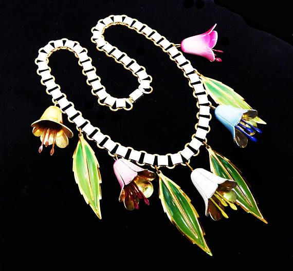 Dangling Bell Flowers & Leaves Necklace White Enamel Book