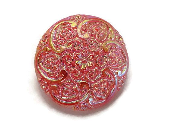 Frosted Tangerine Vintage glazen knop - grote 1940s antieke glazen