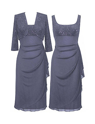 Matching textured set features a sleeveless zipper back gown with rhinestone studded bodice. The long skirt is gathered at the side in an elegant drape. The matching short jacket has long sleeves. Jacket is open. sonsi.com