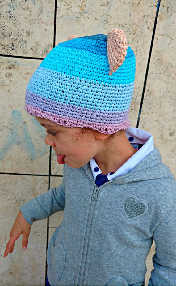Crochet beanie with ears in cotton for children di Hookloopsarah