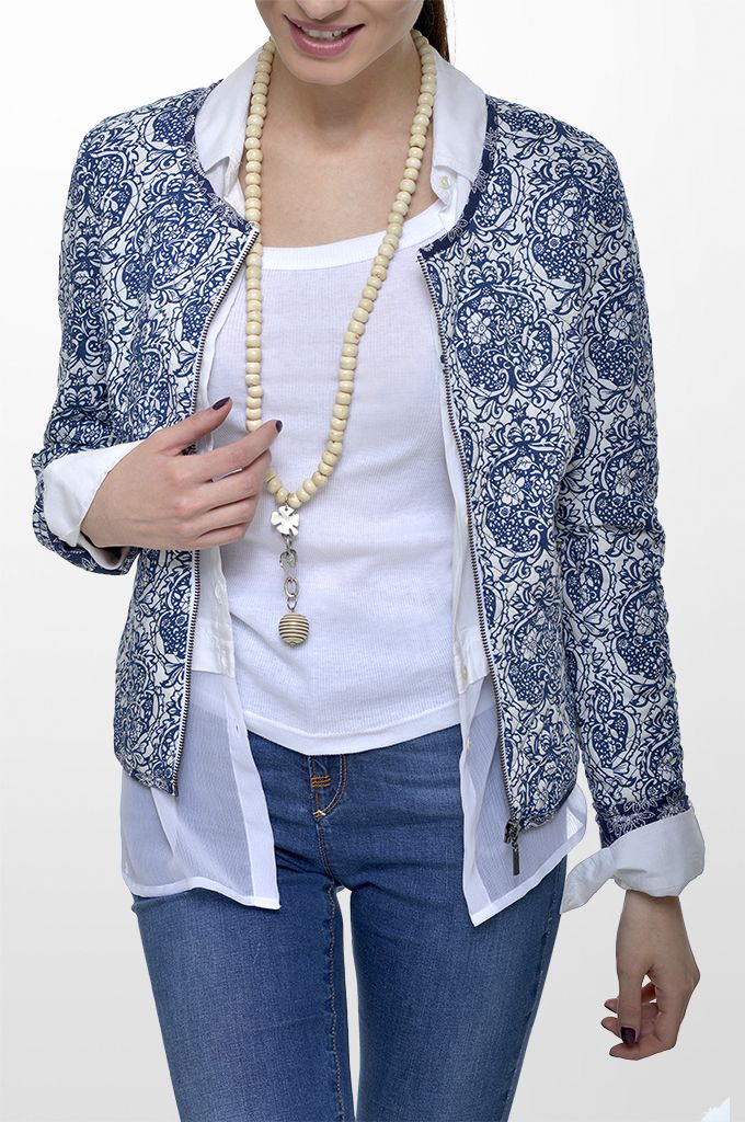 Sarah Lawrence - quilted jacket with combination of two printed fabrics, long sleeve shirt with combination of two fabrics, sleeveless cotton tank, straight leg denim pant, printed scarf, long layer necklace.
