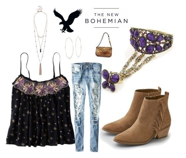 """American Eagle New Bohemian: AE black/purple print tank,tattered jeans,fringe boots,along w, layered tassell necklace,hoop earrings,bohobag,and gorg purple floral Arm Bracelet/Ring chain. B Fashion forward b new boho girl"" by im-karla-with-a-k ❤ liked on Polyvore"