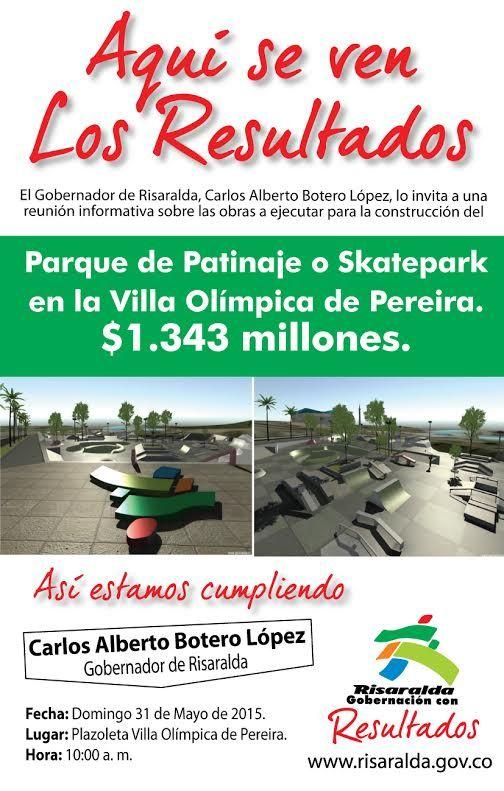 En la Villa Olímpica, Gobernación construirá parque de patinaje