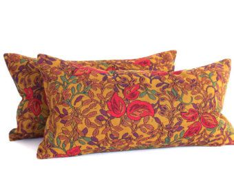 Lumbar Pillow Cover Gold Floral Upholstery Fabric Shabby Chic Decorative Throw 12x21