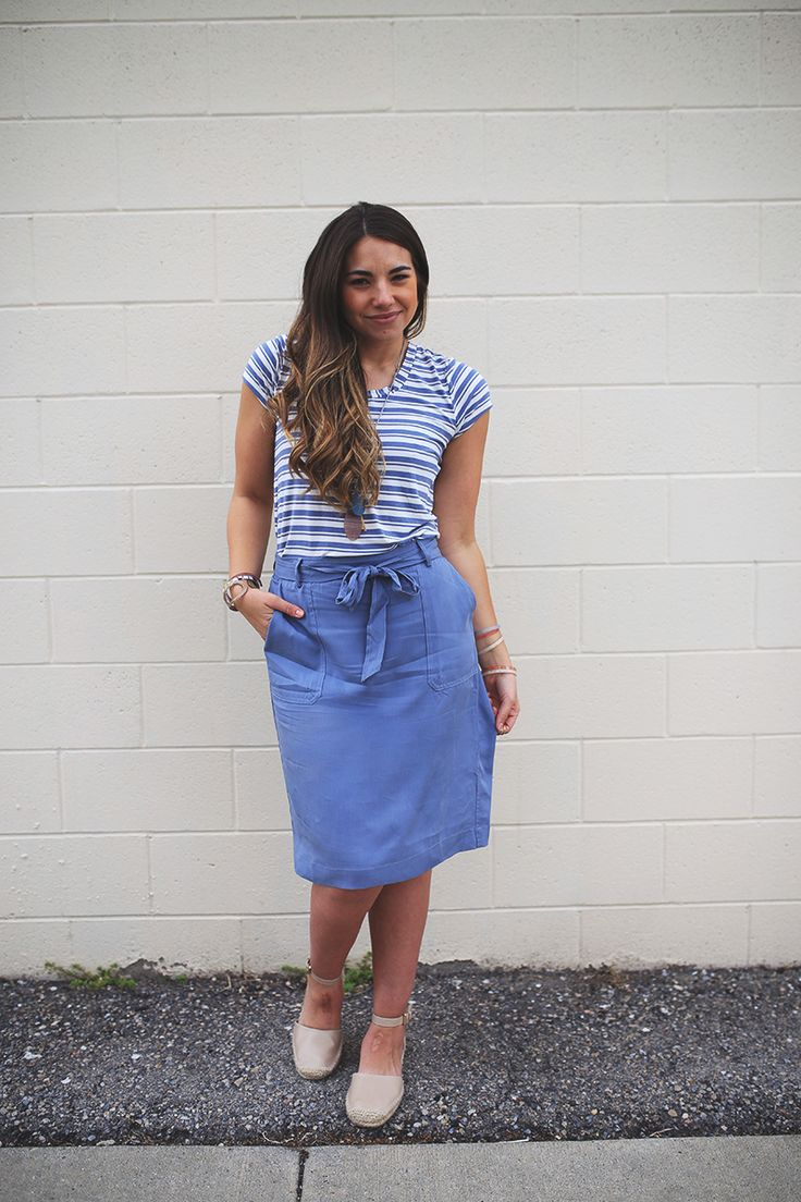teacher outfit, @DownEast Home & Clothing blue skirt, blue striped shirt, and espadrille sandals