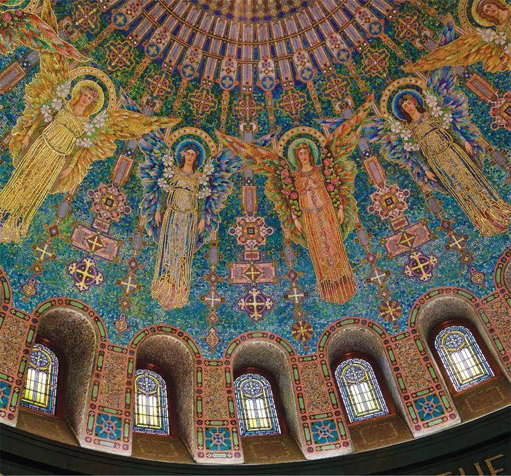Byzantine mosaic art mural at Lakewood Cemetery Chapel
