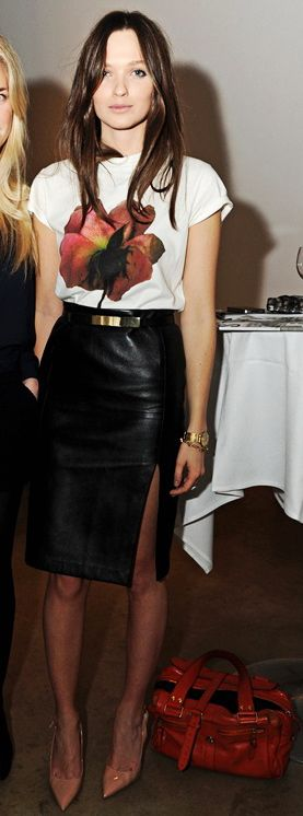 Columbine Smille's leather pencil skirt