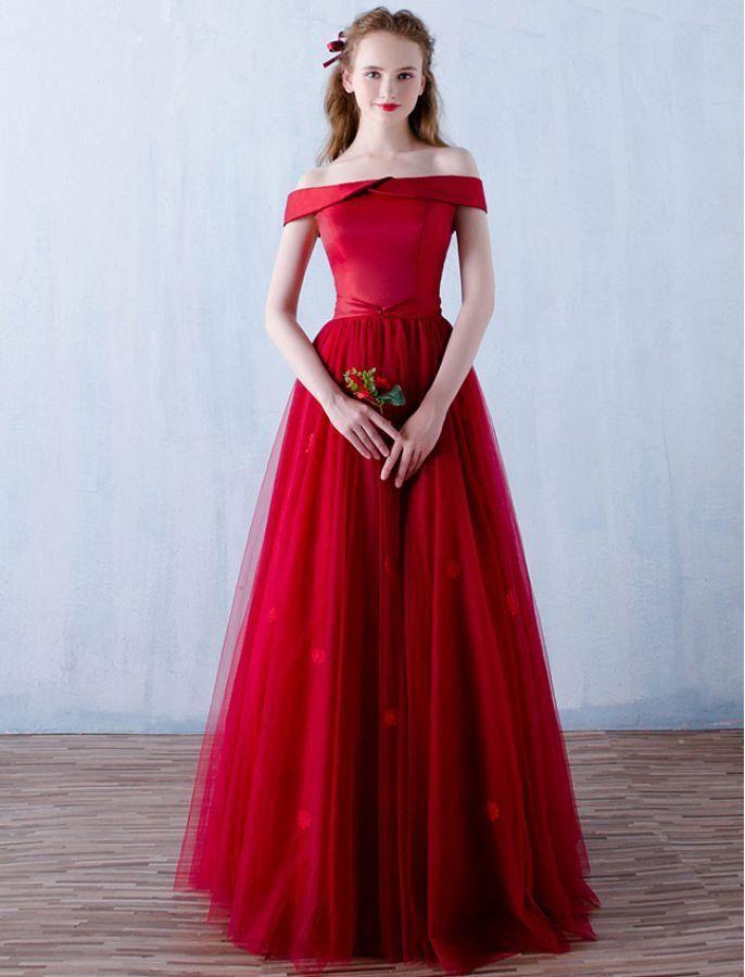 513445526a8c Elegant A Line Burgundy Prom Dress,Off-the-shoulder Floor-length Evening