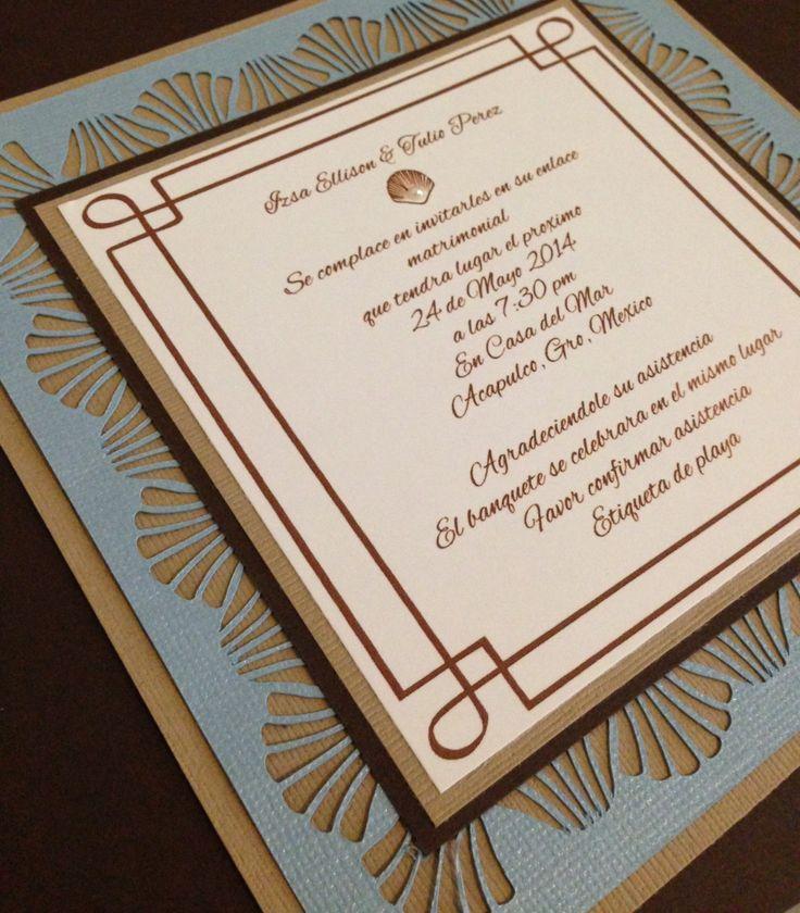 tie the knot wedding invitations etsy%0A Beach theme handmade wedding invitation